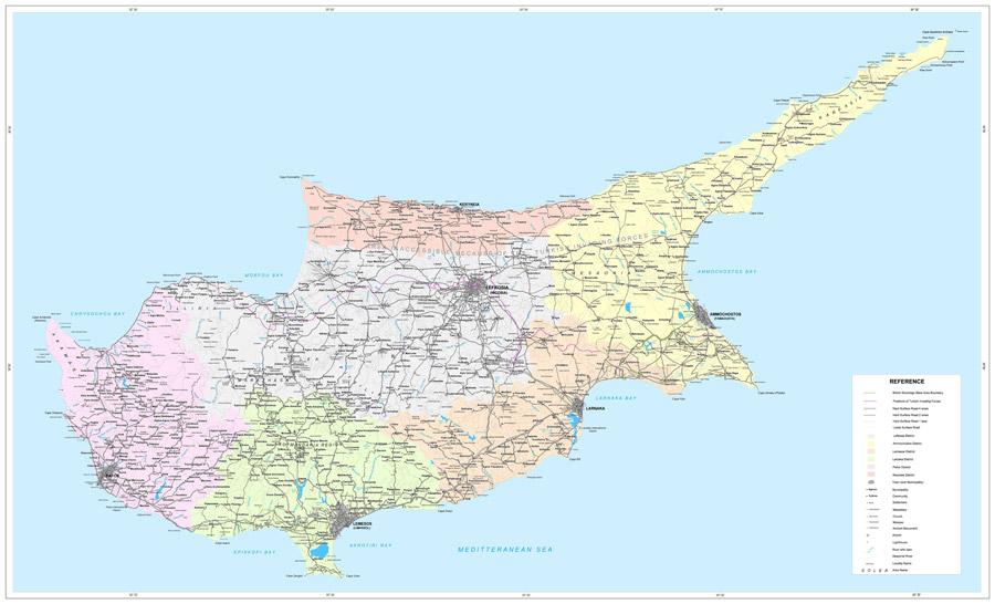 Ciprus térkép. Nagy felbontású térkép Ciprus szigetéről, úthálózatáról, városairól.
