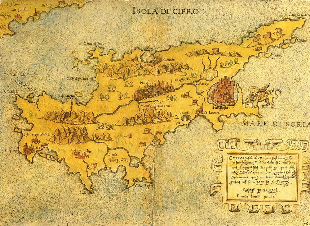 Ciprus történelme régi térkép